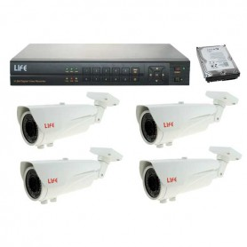 KIT VIDEOREGISTRATORE 4 CH HDD 1TB + 4 TELECAMERE