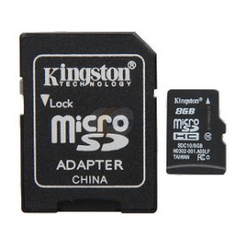 MICRO SD CARD 8 GB C10 CON ADATTATORE KINGSTON