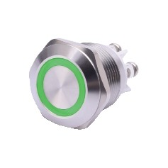 PULSANTE ANTIVANDALO LUMINOSO LED VERDE 19MM 24V