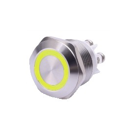 PULSANTE ANTIVANDALO LUMINOSO LED GIALLO 19 MM 24V