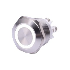 PULSANTE ANTIVANDALO LUMINOSO LED BIANCO 19MM 24V