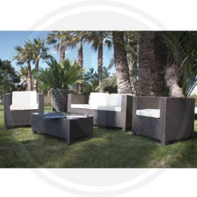 SALOTTO IN POLYRATTAN MARRONE MARATEA PAPILLON
